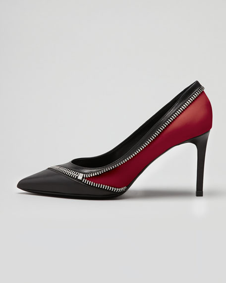 Optical Mid-Heel Zipper Pump, Black/Red