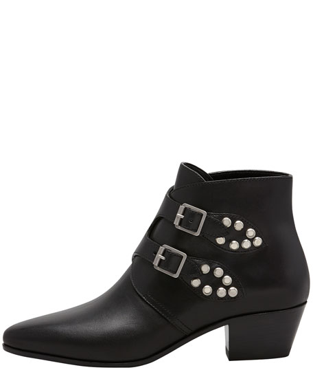 Studded Double Monk Ankle Boot, Black