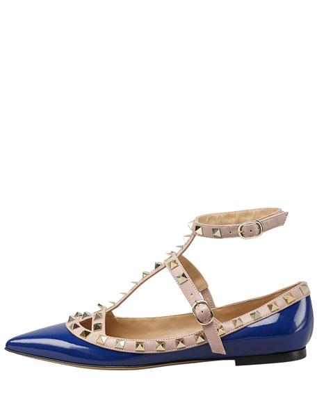 Rockstud Cage Patent Ballerina, Blue