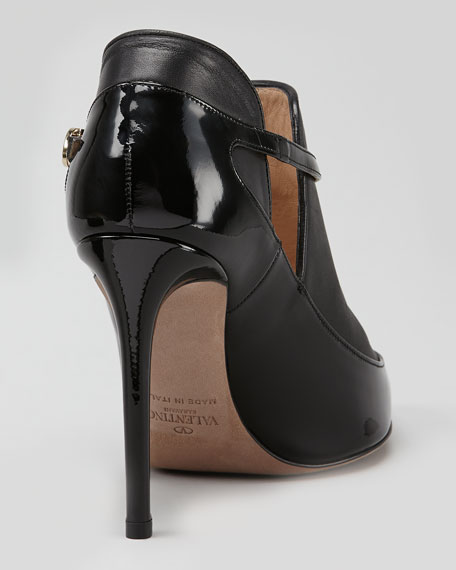 Layered Leather T-Strap Bootie