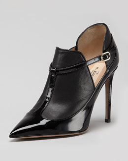 Valentino Layered Leather T-Strap Bootie