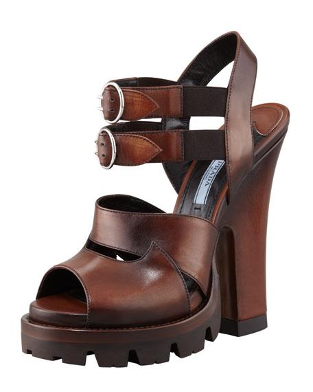 High-Heel Double-Buckle Lug-Platform Sandal, Teak