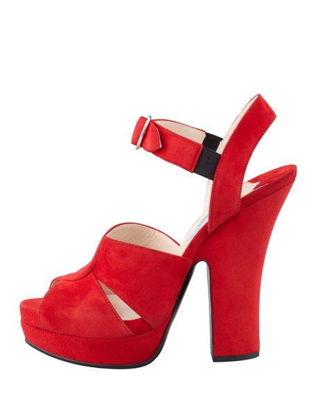 Buckled Suede Platform Sandal, Red