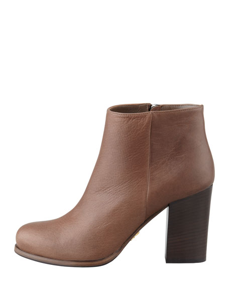 Stacked-Heel Ankle Boot, Mahogany