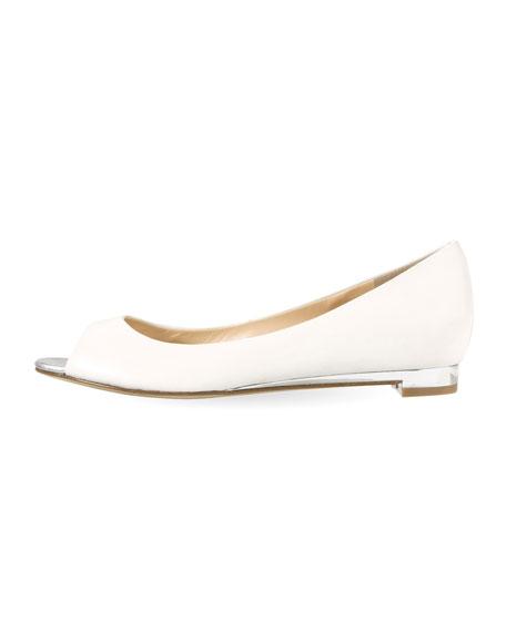 Astoria Peep-Toe Ballerina Flat, Ivory