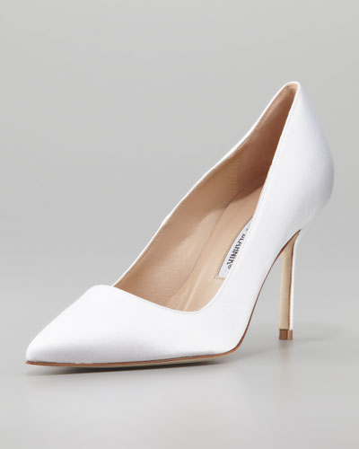 Manolo Blahnik BB Satin 90mm Pump, White