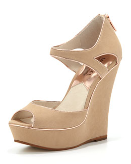 MICHAEL Michael Kors  Riley Metallic-Trim Suede Wedge