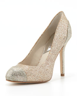 MICHAEL Michael Kors  Sinclair Glittered Cap-Toe Pump