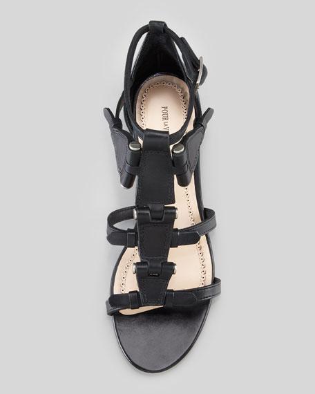 Eleni Hinged Gladiator Sandal, Black