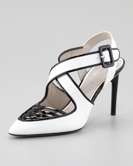 Peggy Patent Leather Woven Pump, White/Black