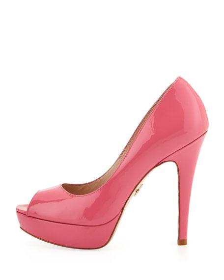 Angelie Patent Peep-Toe Platform Pump, Pink
