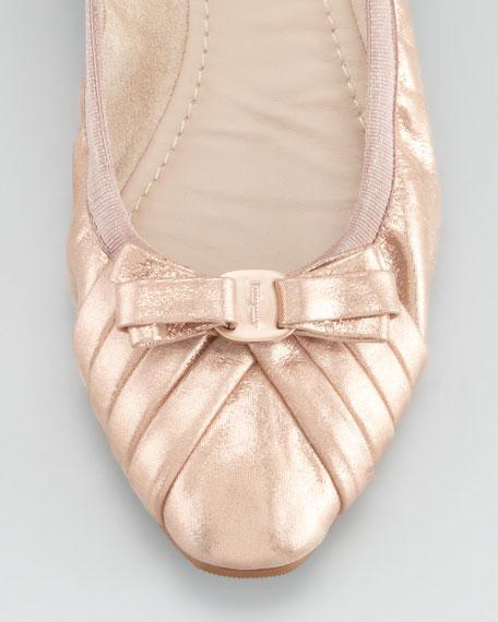 My Joyful Metallic Leather Ballerina Flat, Rose Gold