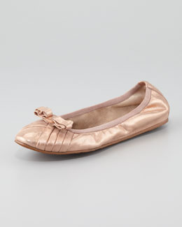 Salvatore Ferragamo My Joyful Metallic Leather Ballerina Flat, Rose Gold