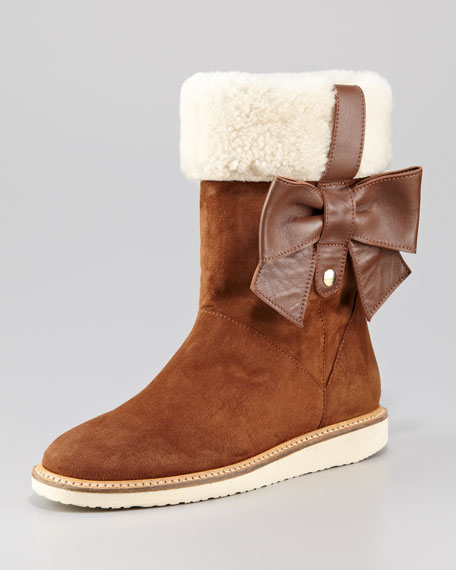 Suede Shearling-Cuff Bow Boot