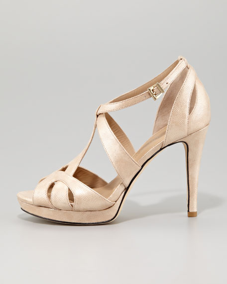 Adele Strappy High-Heel Sandal, Champagne