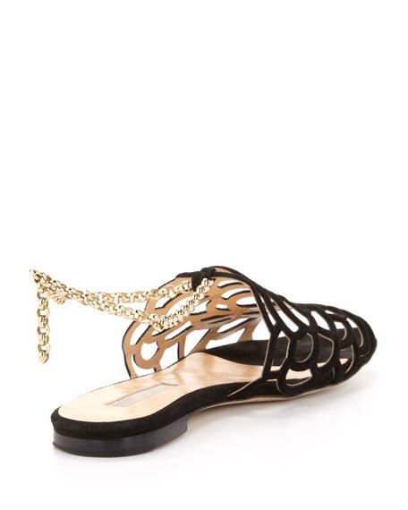 Begonia Ankle-Wrap Flat Slingback Sandal, Black