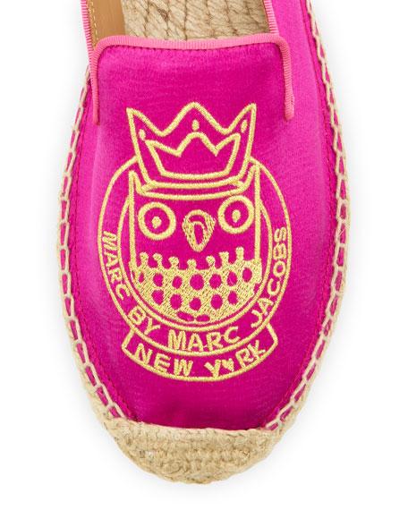 Owl Satin Espadrille Flat, Hot Pink