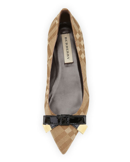 Pointed-Toe Bow Flat, Brown/Black