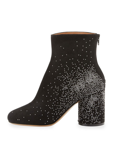 Suede Sparkle Ankle Boots, Black