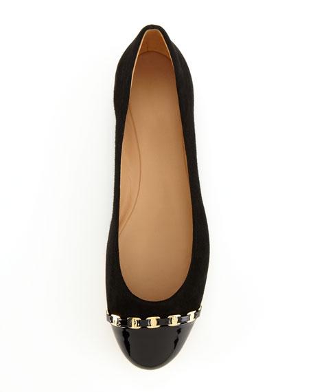 Suede Chain-Trimmed Ballerina Flat, Black