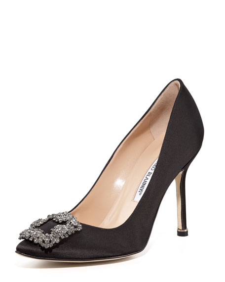 Manolo Blahnik Hangisi Satin Pump Black, 105mm