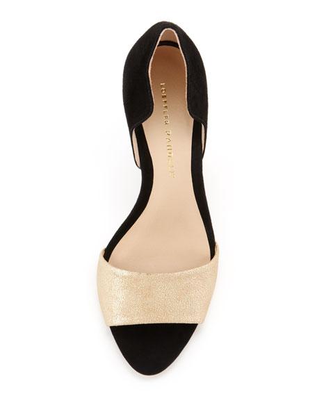 Charlotte Suede Sandal, Pale Gold/Black