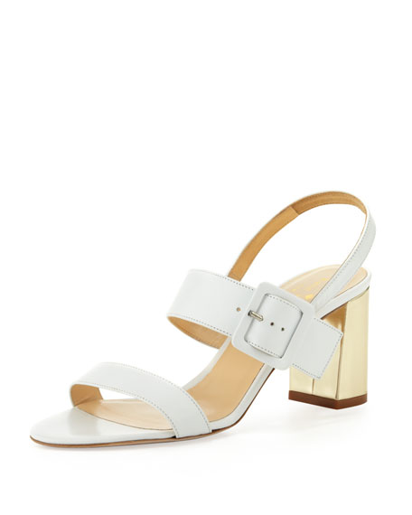 accent buckled block-heel sandal, white/gold