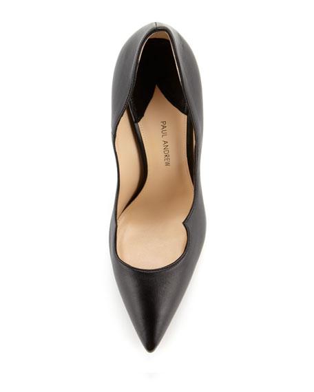 Zenadia Leather Peaked-Vamp Pump, Black