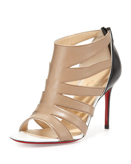 Beauty K Red-Sole Cage Sandal, Beige