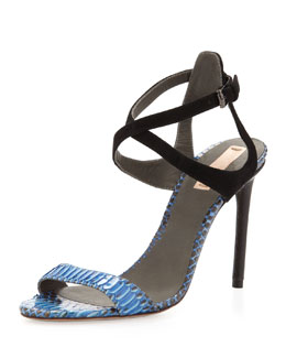 Reed Krakoff Snake and Suede Harness Sandal