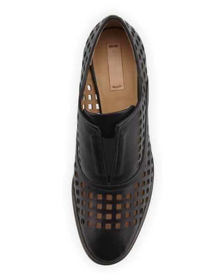 Perforated Slip-On Oxford, Black