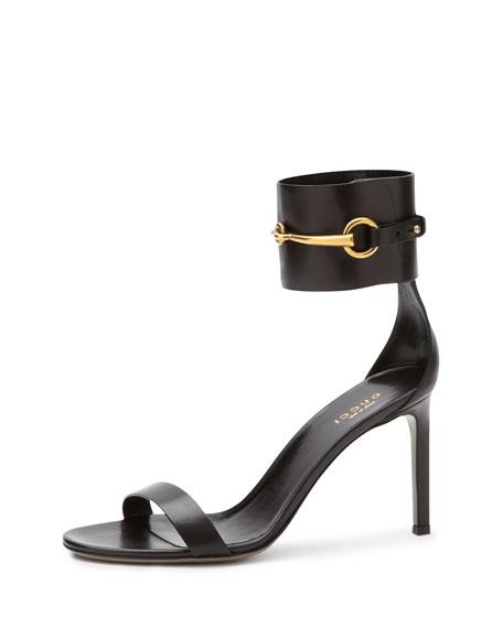 Ursula Leather Ankle-Wrap Cage Sandal, Black