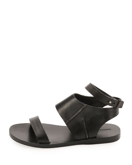 Calfskin Flat Ankle-Wrap Sandal, Black