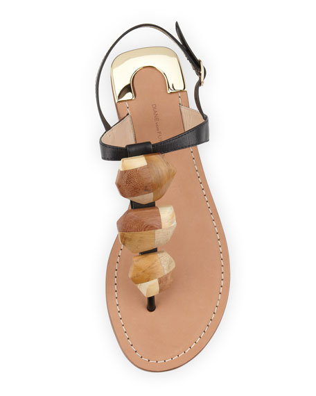 Dory Wooden-Accent Thong Sandal