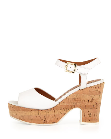 Platform Cork Mid-Wedge Sandal, White