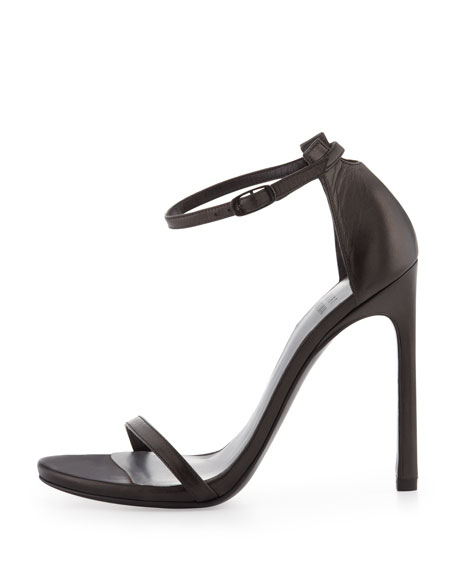Nudist Ankle-Strap Sandal, Black