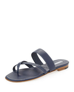 Manolo Blahnik Susa Flat Leather Sandal, Navy