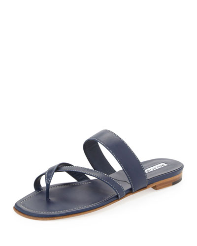 Manolo Blahnik Susa Flat Leather Sandal, Navy