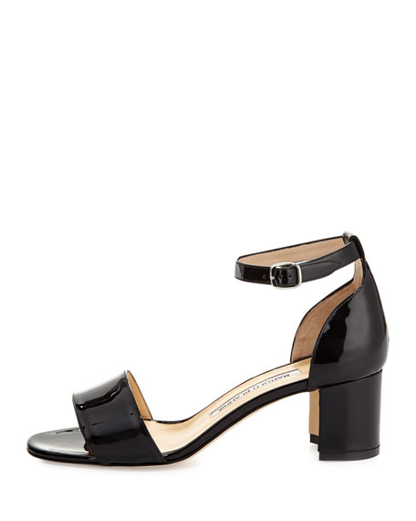 Manolo Blahnik Lauratomod Block-Heel Ankle-Strap Sandal, Black