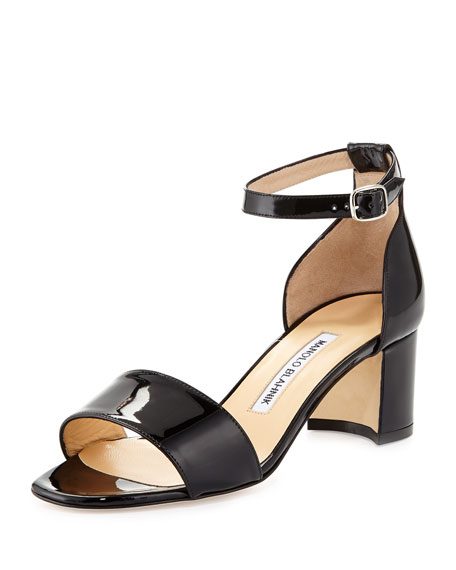 Lauratomod Block-Heel Ankle-Strap Sandal, Black