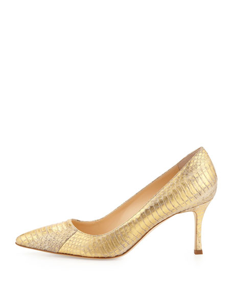 Manolo Blahnik BB 70mm Low-Heel Snake Pump, Gold | Neiman Marcus