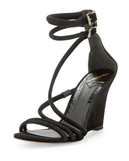 B Brian Atwood Sedini Suede Ankle-Wrap Wedge, Black