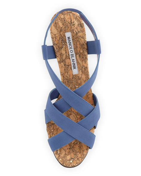 Lastiwe Strappy Elastic Cork-Wedge Sandal, Dark Blue