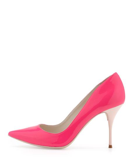 Sophia Webster Lola Glossy Point-Toe Pump, Hot Pink/Blush