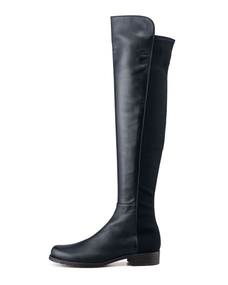 50/50 Leather Over-the-Knee Boot, Navy