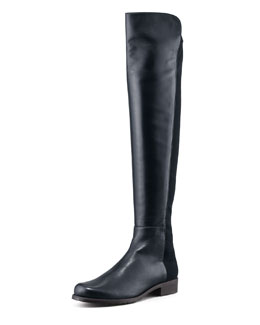 Stuart Weitzman 50/50 Leather Over-the-Knee Boot, Navy