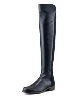 Stuart Weitzman 50/50 Leather Over-the-Knee Boot, Navy
