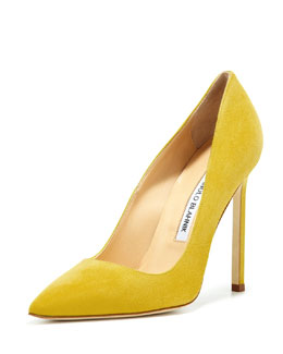 Manolo Blahnik BB Suede 115mm Pump, Limone