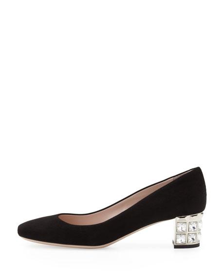 Suede Crystal-Heel Pump, Black