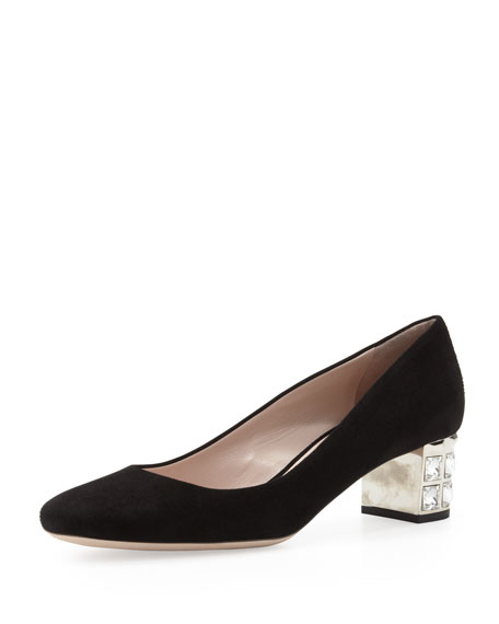 Suede Crystal-Heel Pump, Black